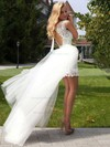 Modern Scoop Neck Sheath/Column Lace Tulle Ruffles Open Back Detachable Wedding Dresses #DOB00022524