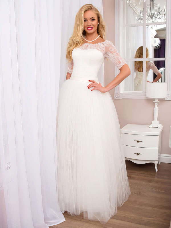 Fashion A-line Scoop Neck White Tulle with Lace Floor-length 1/2 Sleeve Wedding Dresses #DOB00022525