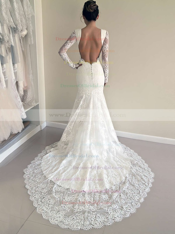 Popular Backless Trumpet/Mermaid Scoop Neck Lace Court Train Long Sleeve Wedding Dresses #DOB00022527