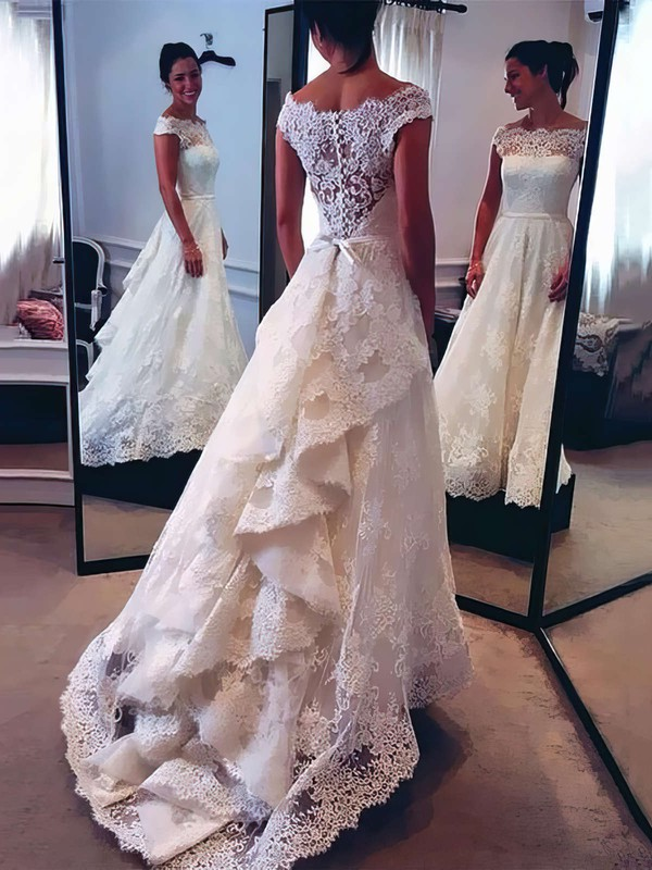 Beautiful A-line Scalloped Neck Lace with Sashes / Ribbons Watteau Train Wedding Dresses #DOB00022528