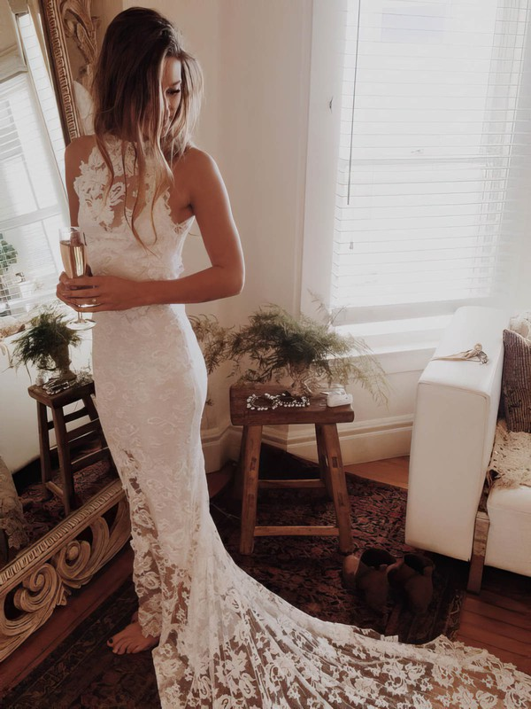 Open Back Trumpet/Mermaid Scoop Neck Lace Court Train Sexy Wedding Dresses #DOB00022529
