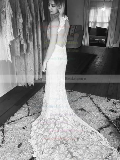 Open Back Trumpet/Mermaid Scoop Neck Lace Court Train Sexy Wedding Dresses #DOB00022529