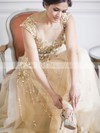 A-line Scoop Neck Champagne Tulle Crystal Detailing Sweep Train Sparkly Wedding Dresses #DOB00022530