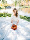Fabulous A-line Scoop Neck Lace with Sashes / Ribbons Sweep Train 1/2 Sleeve Wedding Dresses #DOB00022531