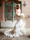 Trumpet/Mermaid Organza Cascading Ruffles Court Train Famous Strapless Wedding Dresses #DOB00022533