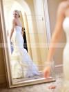 Trumpet/Mermaid Organza Cascading Ruffles Court Train Famous Strapless Wedding Dresses #DOB00022533