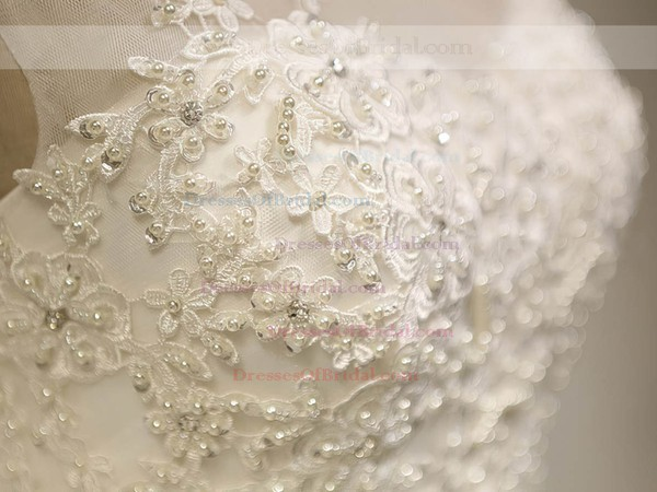 Elegant Scoop Neck Tulle Appliques Lace Court Train Ball Gown Wedding Dresses #DOB00022534
