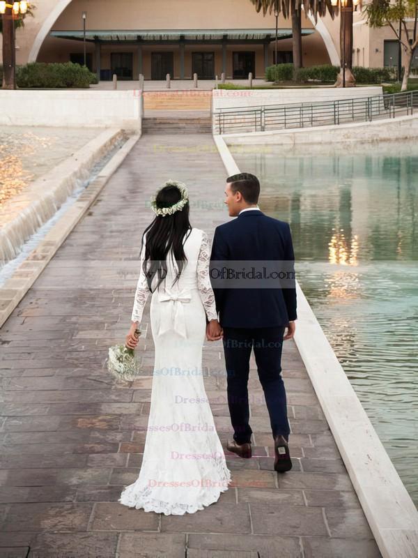 V-neck Sheath/Column Lace with Bow Sweep Train Long Sleeve Glamorous Wedding Dresses #DOB00022535