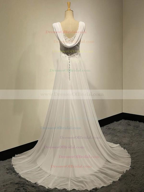 Modest Sweetheart Ivory Chiffon Appliques Lace Sweep Train Empire Wedding Dresses #DOB00022536