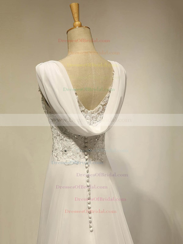Modest Sweetheart Ivory Chiffon Appliques Lace Sweep Train Empire Wedding Dresses #DOB00022536