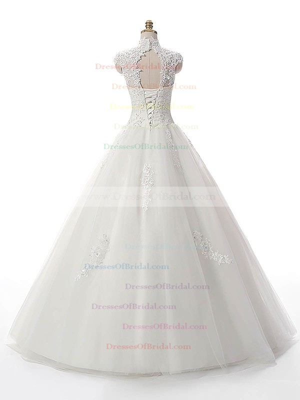 Ball Gown White Tulle Appliques Lace Floor-length Graceful High Neck Wedding Dresses #DOB00022537