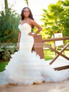 Amazing Backless Sweetheart Tulle Cascading Ruffles Sweep Train Trumpet/Mermaid Wedding Dresses #DOB00022538