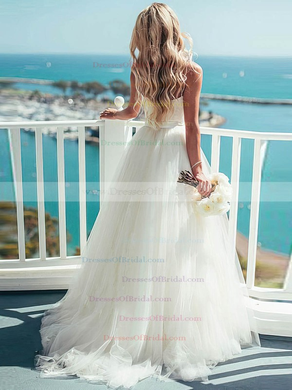 A-line Sweetheart Ivory Tulle Sashes / Ribbons Sweep Train New Wedding Dresses #DOB00022540