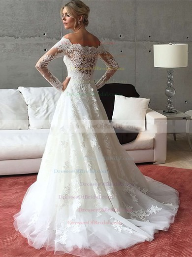 A-line Tulle Appliques Lace Sweep Train Long Sleeve Off-the-shoulder Wedding Dresses #DOB00022541