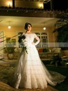 Newest A-line Scoop Neck Tulle Appliques Lace Chapel Train Long Sleeve Wedding Dresses #DOB00022542
