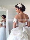 Ball Gown Sweetheart Tulle Appliques Lace Watteau Train Latest Backless Wedding Dresses #DOB00022543