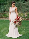 A-line V-neck Chiffon with Sequins Sweep Train Backless Hot Wedding Dresses #DOB00022544