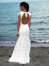 Online Scoop Neck Chiffon with Lace Floor-length Open Back Trumpet/Mermaid Wedding Dresses #DOB00022545