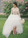 Asymmetrical A-line Scalloped Neck Tulle Appliques Lace Long Sleeve Latest Two Piece Wedding Dresses #DOB00022546