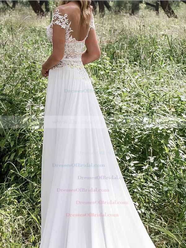 Scoop Neck Sheath/Column Chiffon Tulle Appliques Lace Sweep Train New Style Wedding Dresses #DOB00022547