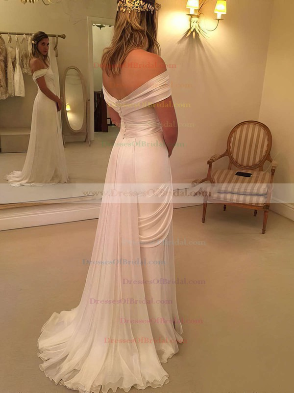 Sheath/Column Chiffon Lace Watteau Train Backless Off-the-shoulder Wedding Dresses #DOB00022548