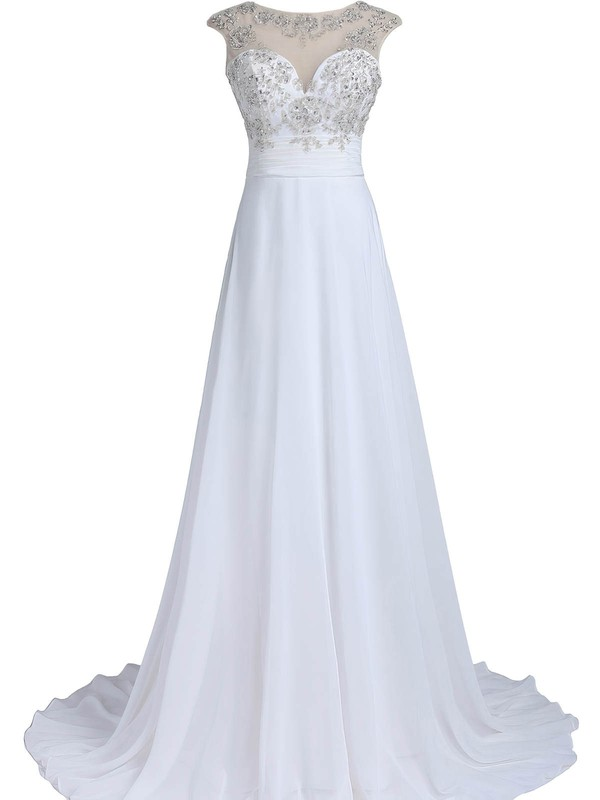 Original A-line Scoop Neck White Chiffon Tulle Beading Sweep Train Open Back Wedding Dresses #DOB00022549