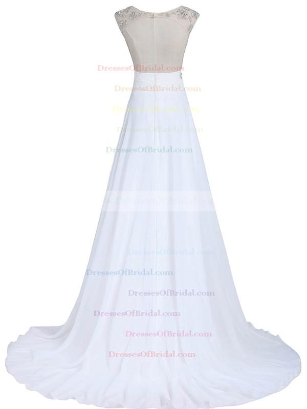 Original A-line Scoop Neck White Chiffon Tulle Beading Sweep Train Open Back Wedding Dresses #DOB00022549