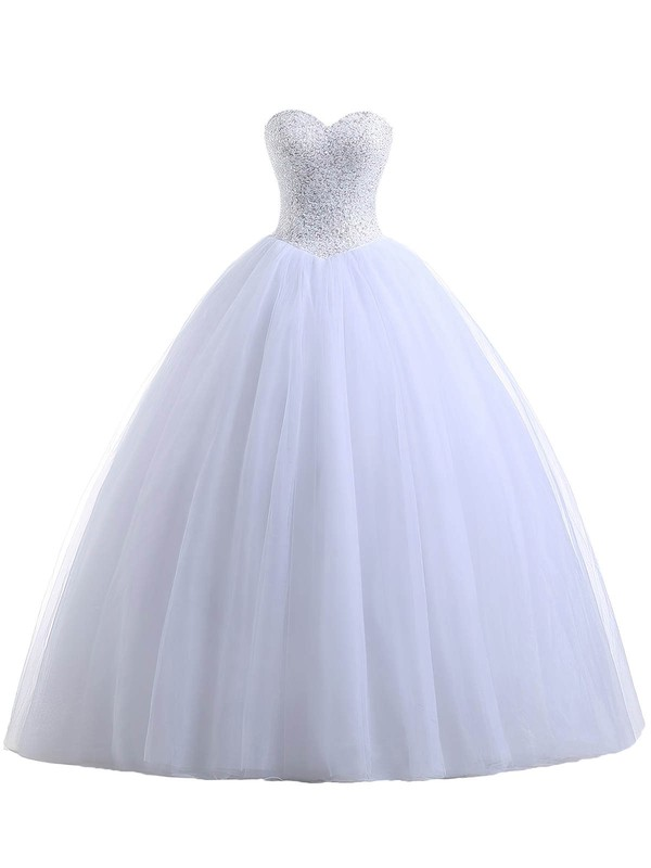 Ball Gown Sweetheart Tulle with Beading Floor-length Lace-up Classic Wedding Dresses #DOB00022551