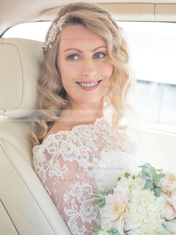A-line Scalloped Neck Lace Chiffon Sashes / Ribbons Sweep Train 3/4 Sleeve Wedding Dresses #DOB00022552