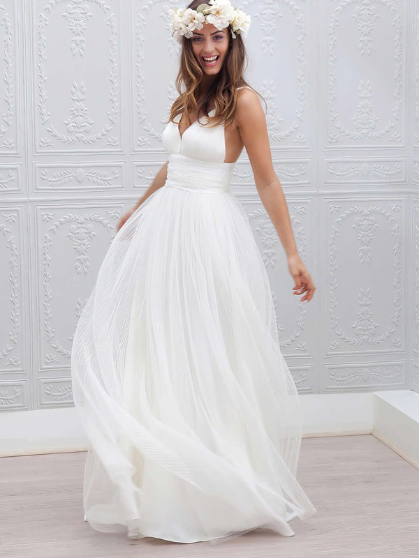 Different A-line V-neck Tulle with Pleats Sweep Train Backless Wedding Dresses #DOB00022553