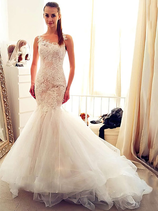 Trumpet/Mermaid Scoop Neck Ivory Tulle Appliques Lace Chapel Train Exclusive Wedding Dresses #DOB00022554