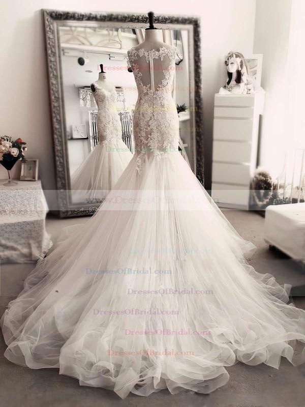 Trumpet/Mermaid Scoop Neck Ivory Tulle Appliques Lace Chapel Train Exclusive Wedding Dresses #DOB00022554