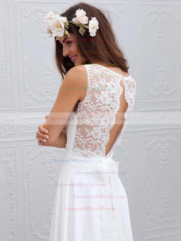 V-neck Sheath/Column White Lace Chiffon Sashes / Ribbons Sweep Train Ladies Wedding Dresses #DOB00022555