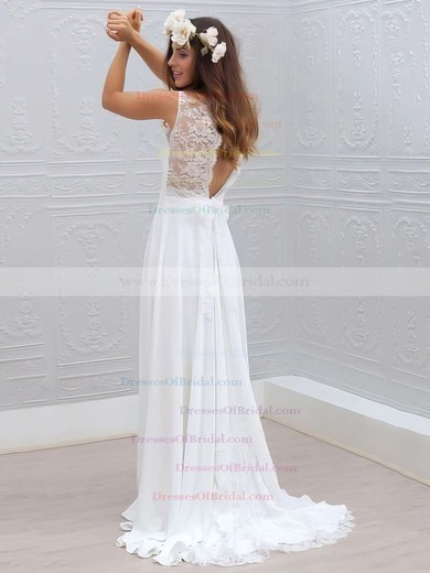 V-neck Sheath/Column White Lace Chiffon Sashes / Ribbons Sweep Train Ladies Wedding Dresses #DOB00022555
