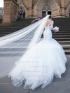 Trumpet/Mermaid V-neck Tulle Appliques Lace Court Train 3/4 Sleeve Backless Wedding Dresses #DOB00022556