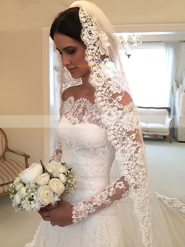Elegant A-line Lace Tulle Appliques Lace Watteau Train Off-the-shoulder Long Sleeve Wedding Dress #DOB00022557