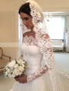 Elegant A-line Lace Tulle Appliques Lace Watteau Train Off-the-shoulder Long Sleeve Wedding Dress #DOB00022557