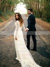 V-neck Backless Sheath/Column Lace Tulle Sweep Train Appliques Lace Long Sleeve Wedding Dress #DOB00022558
