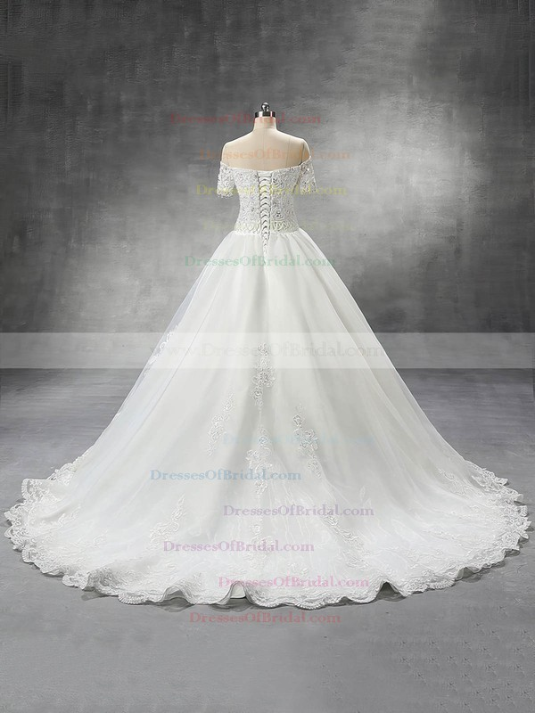 Off-the-shoulder Ball Gown Organza with Beading Court Train Short Sleeve Wedding Dress #DOB00022559