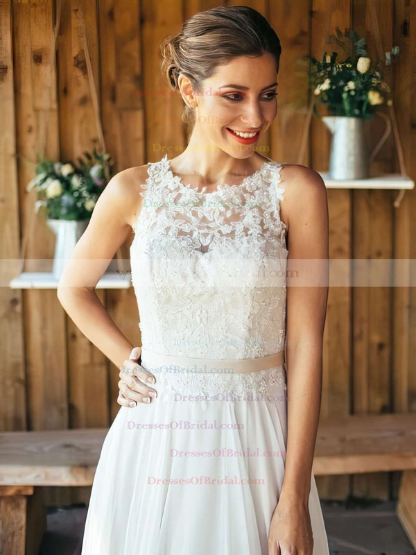 A-line Scoop Neck White Chiffon with Appliques Lace Sweep Train Famous Wedding Dresses #DOB00022561