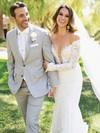 Open Back Trumpet/Mermaid Off-the-shoulder Lace Watteau Train Long Sleeve Wedding Dress #DOB00022562