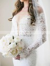 Open Back Trumpet/Mermaid Off-the-shoulder Lace Watteau Train Long Sleeve Wedding Dress #DOB00022562