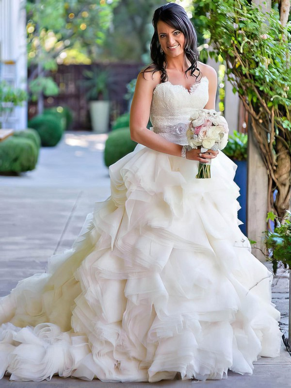 A-line Sweetheart Organza with Appliques Lace Court Train Beautiful Wedding Dresses #DOB00022563