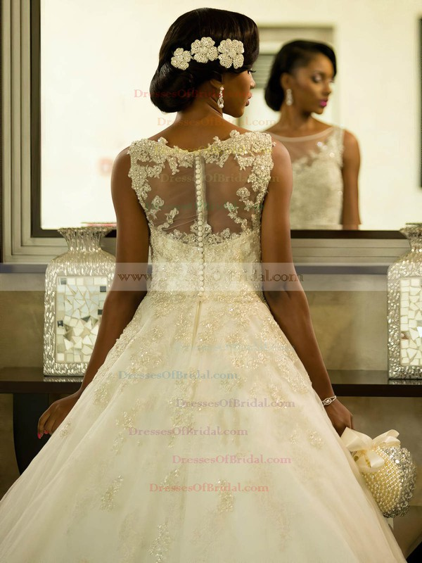 Fabulous A-line Scoop Neck Tulle with Appliques Lace Sweep Train Wedding Dresses #DOB00022564