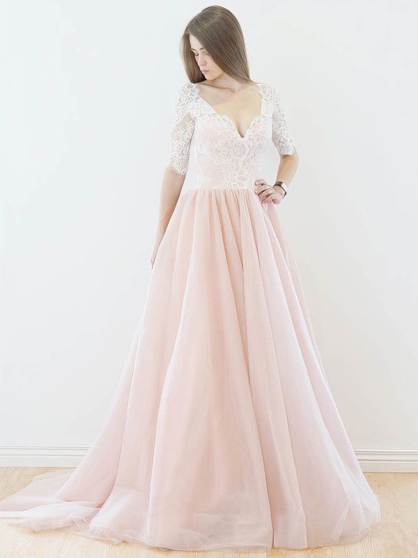 Backless A-line V-neck Lace Tulle Sweep Train Sweet 1/2 Sleeve Wedding Dresses #DOB00022565
