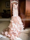 Exclusive Sweetheart Organza Cascading Ruffles Court Train Trumpet/Mermaid Wedding Dress #DOB00022566