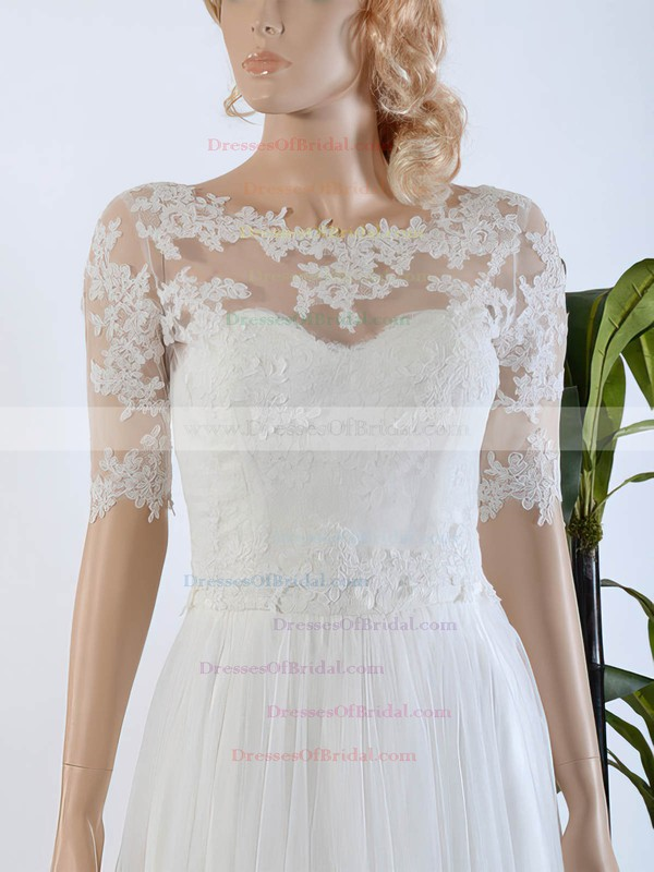 Cheap A-line Scoop Neck Tulle Chiffon Appliques Lace Sweep Train 1/2 Sleeve Wedding Dresses #DOB00022567