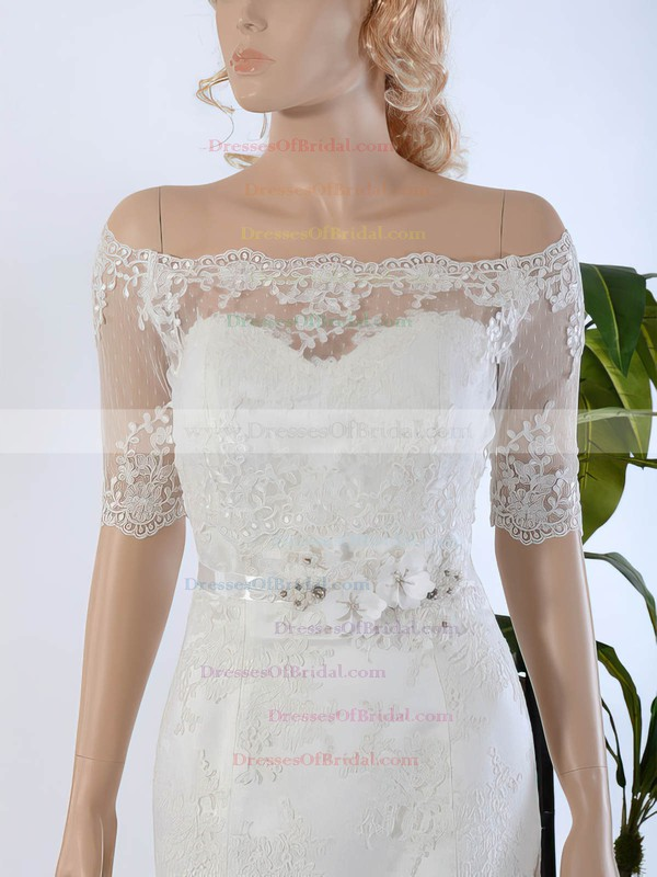 Off-the-shoulder Trumpet/Mermaid Tulle Appliques Lace Sweep Train 1/2 Sleeve Wedding Dresses #DOB00022568