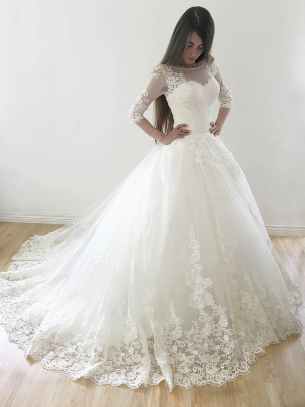 Classy Princess Scoop Neck Tulle Appliques Lace Court Train 3/4 Sleeve Wedding Dresses #DOB00022569