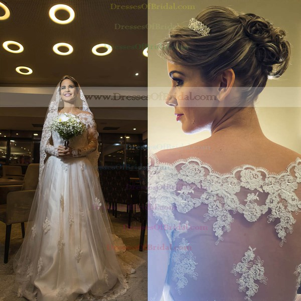 Fashion A-line Tulle Appliques Lace Sweep Train Long Sleeve Off-the-shoulder Wedding Dress #DOB00022570